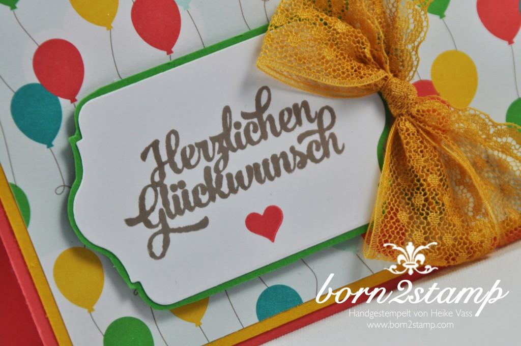 STAMPIN' UP! born2stamp Geburtstagskarte - DSP Bunte Party - Framelits Chalk Talk - Grußelemente - Puenktchen-Spitzenband