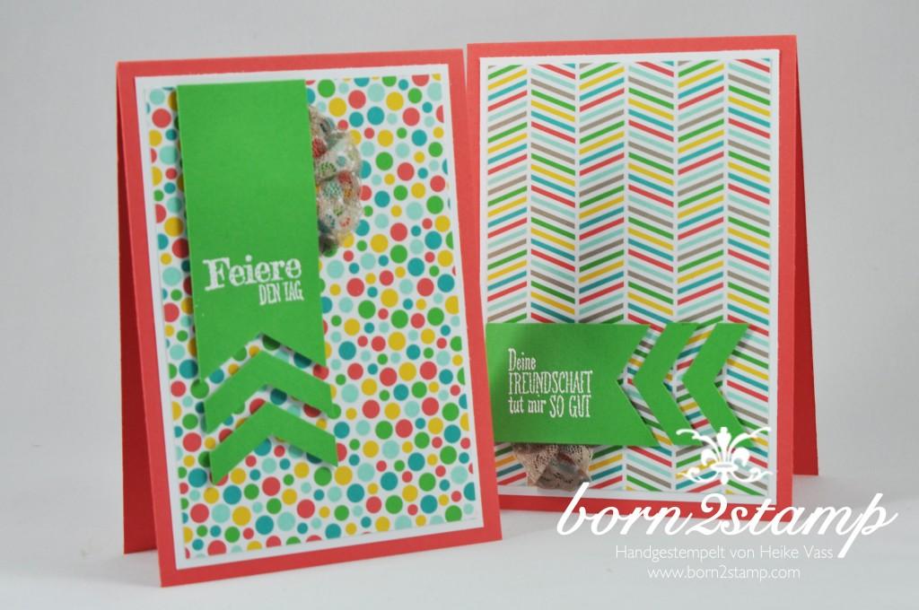 STAMPIN' UP! born2stamp Geburtstagskarte - DSP im Block Bunte Party - Puenktchen-Spitzenband - Faehnchenstanze 1