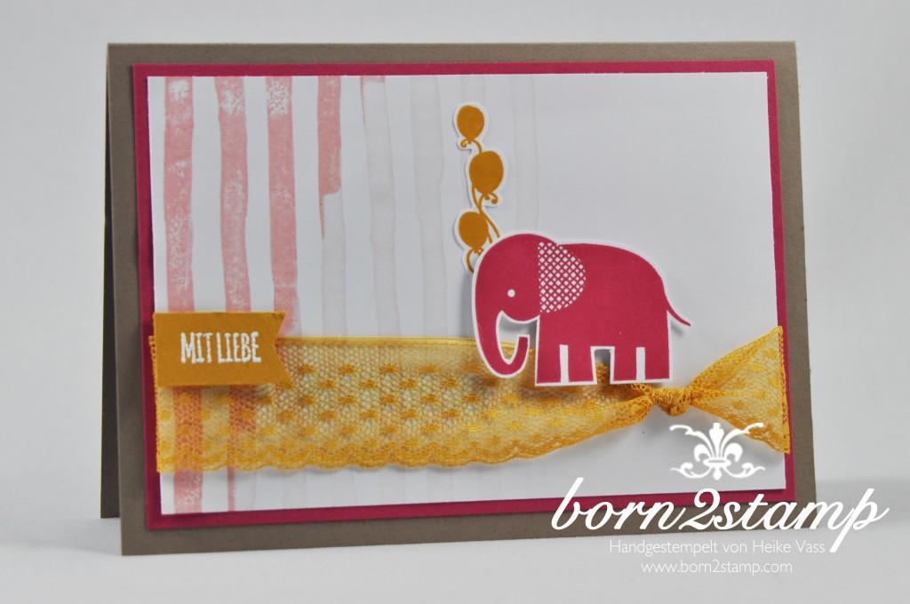 STAMPIN' UP! born2stamp Babykarte - Mit Liebe geschenkt - Brushstrokes - Pretty thankful - Zoo Babies Puenktchen-Spitzenband