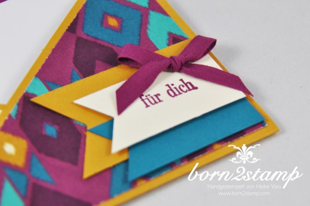 STAMPIN' UP! born2stamp Geburtstagskarte - DSP Boheme - Faehnchenstanze