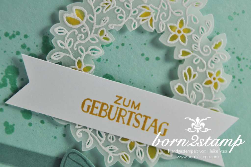 STAMPIN' UP! born2stamp Geburtstagskarte Gorgeous Grunge - Grußelemente - Fruehlingsreigen - Willkommen Weihnacht Framelits - Suesse Puenktchen