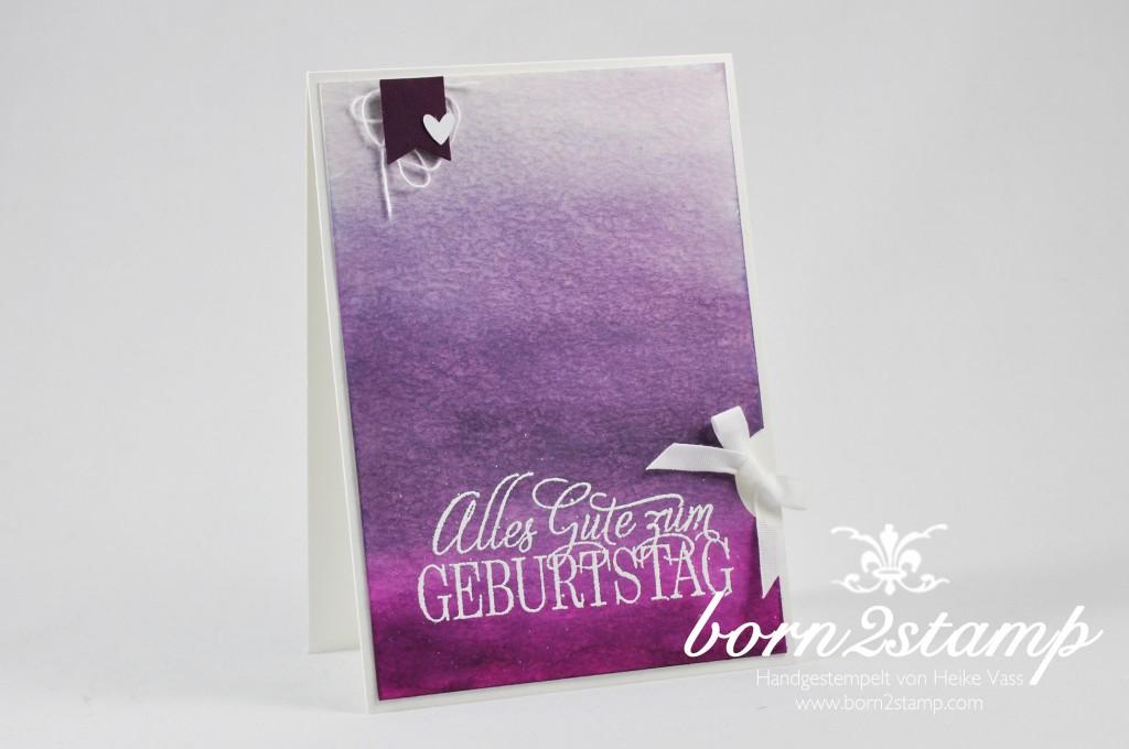 STAMPIN' UP! born2stamp Geburtstagskarte - Ombre - Geburtstagsgruesse fuer alle - Aquarellpapier - Baumwollband - Faehnchenstanze - Eulenstanze