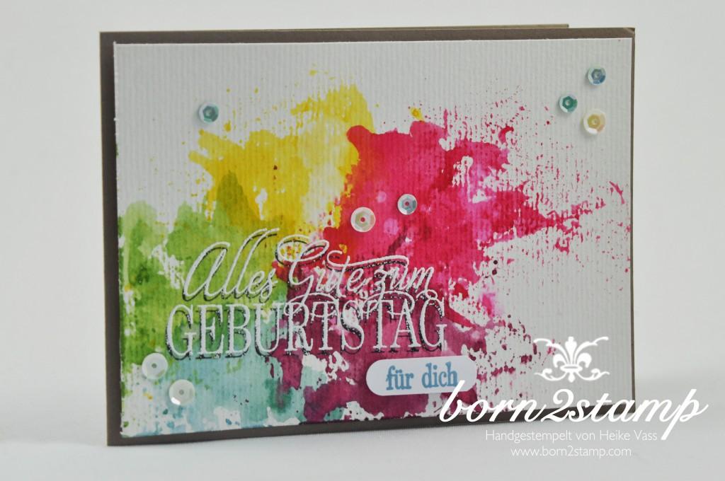 STAMPIN' UP! born2stamp Geburtstagskarte - Smooshing - Geburtstagsgruesse fuer alle - Wortfenster Stanze