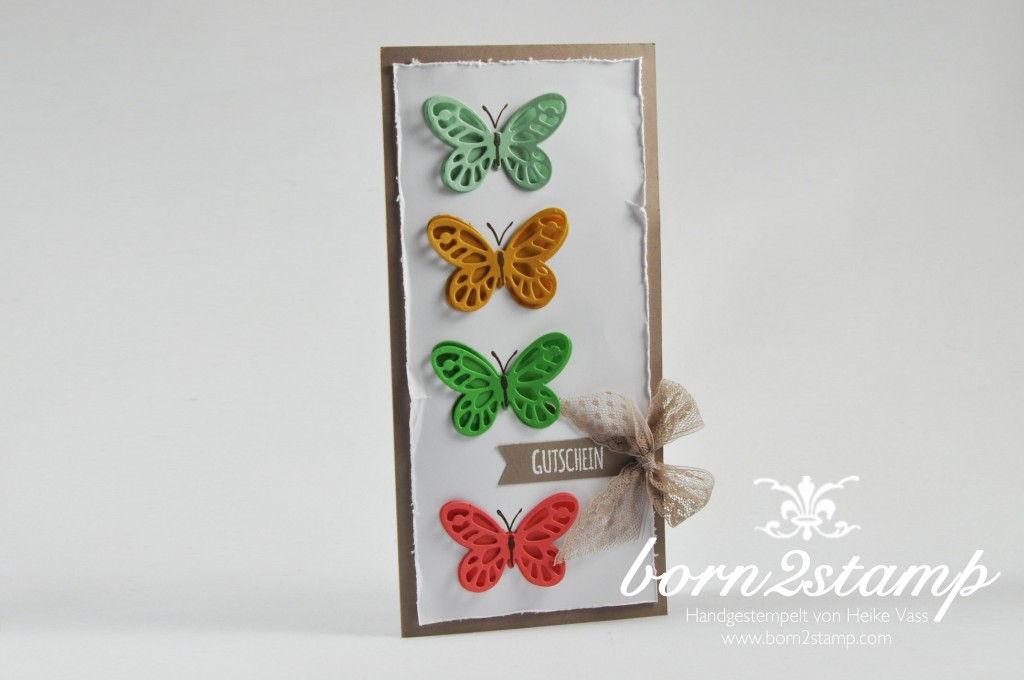 STAMPIN' UP! born2stamp Gutschein - Watercolor wings - Butterfies Thinlits - Bold Butterfly Framelits - Mit Liebe geschenkt - Puenktchen-Spitzenband