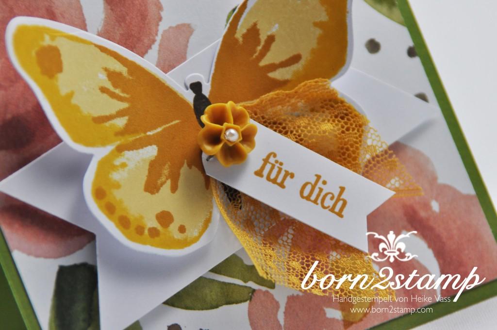STAMPIN' UP! born2stamp Karte - DSP Englischer Garten - Watercolor Wings - Geburtstagsgruesse fuer dich - Framelits Bold Butterfly - Puenktchen-Spitzenband - InColor Accessoires