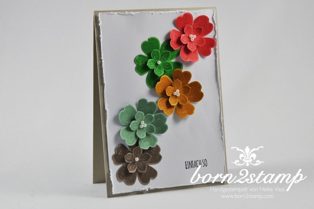 STAMPIN' UP! born2stamp Karte - Petite Petals - Stanze Kleine Bluete - Flower Shop - Stanze Stiefmuetterchen - Mit Liebe geschenkt