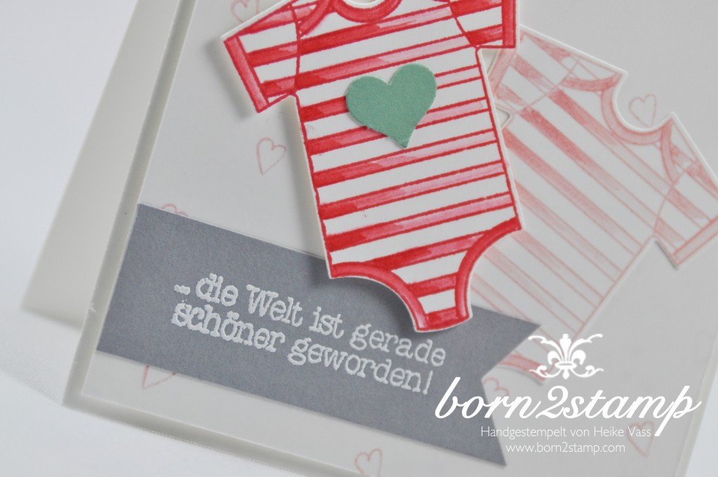 STAMPIN' UP! born2stamp Babykarte - Zum Nachwuchs - Made with love - Something for Baby - Babys first Framelits - Puenktchen-Spitenband