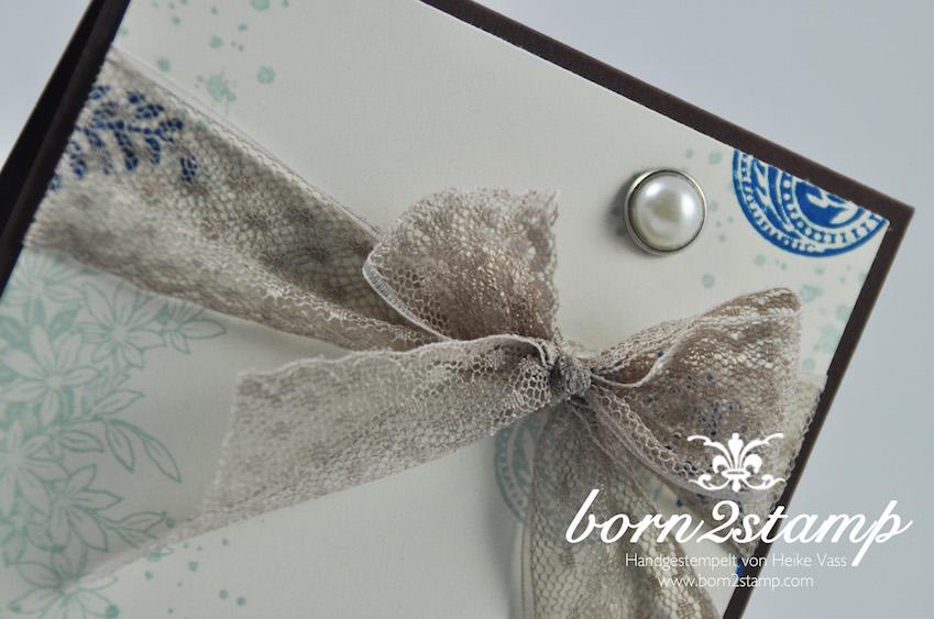 STAMPIN' UP! born2stamp Geburtstagskarte - Awesomely Artistic - Grußelemente - Perlen mit Metallrand - Puenktchen-Spitzenband