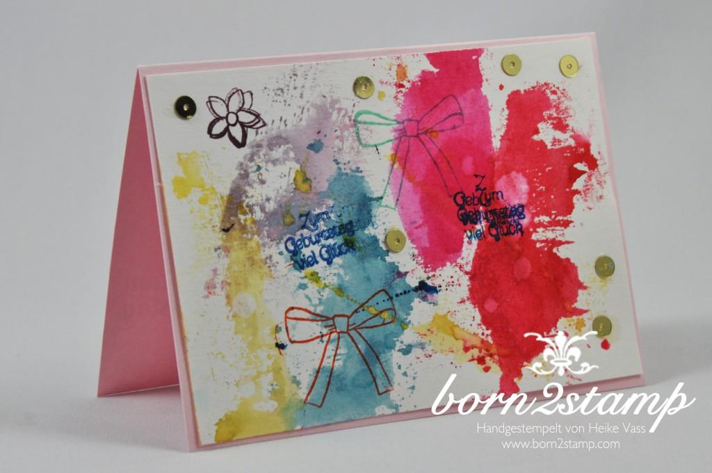 STAMPIN' UP! born2stamp Geburtstagskarte - Smooshing - Geburtstagsgruesse fuer alle - Wortfenster Stanze Sara