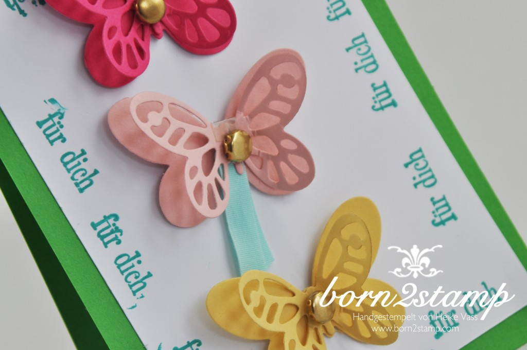 STAMPIN' UP! born2stamp Kinderkarte - Bold Butterfly Framelits - Butterflies Thinlits - Geburtstagsgruesse fuer alle
