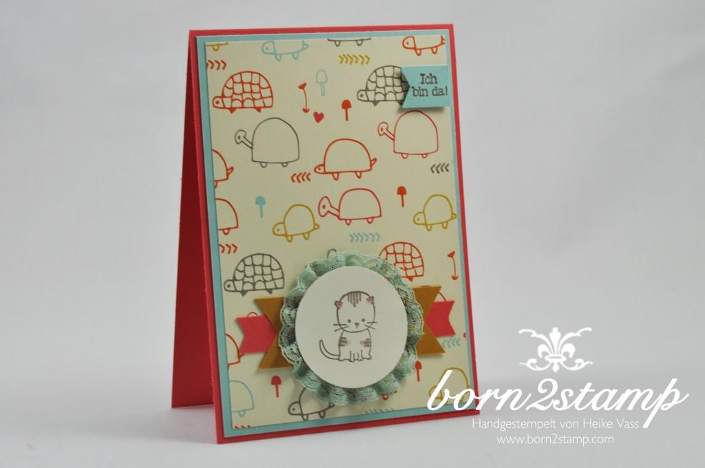 born2stamp STAMPIN' UP! Babykarte - DSP Suesse Kleinigkeiten - Zum Nachwuchs - Puencktchen-Spitzenband - Faehnchenstanze