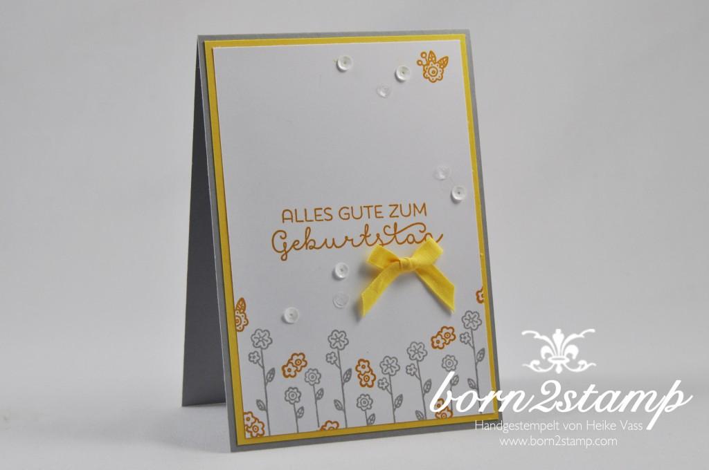 STAMPIN' UP! born2stamp Geburtstagskarte - Landlust - Baumwollband - Zierdeckchen metallisch