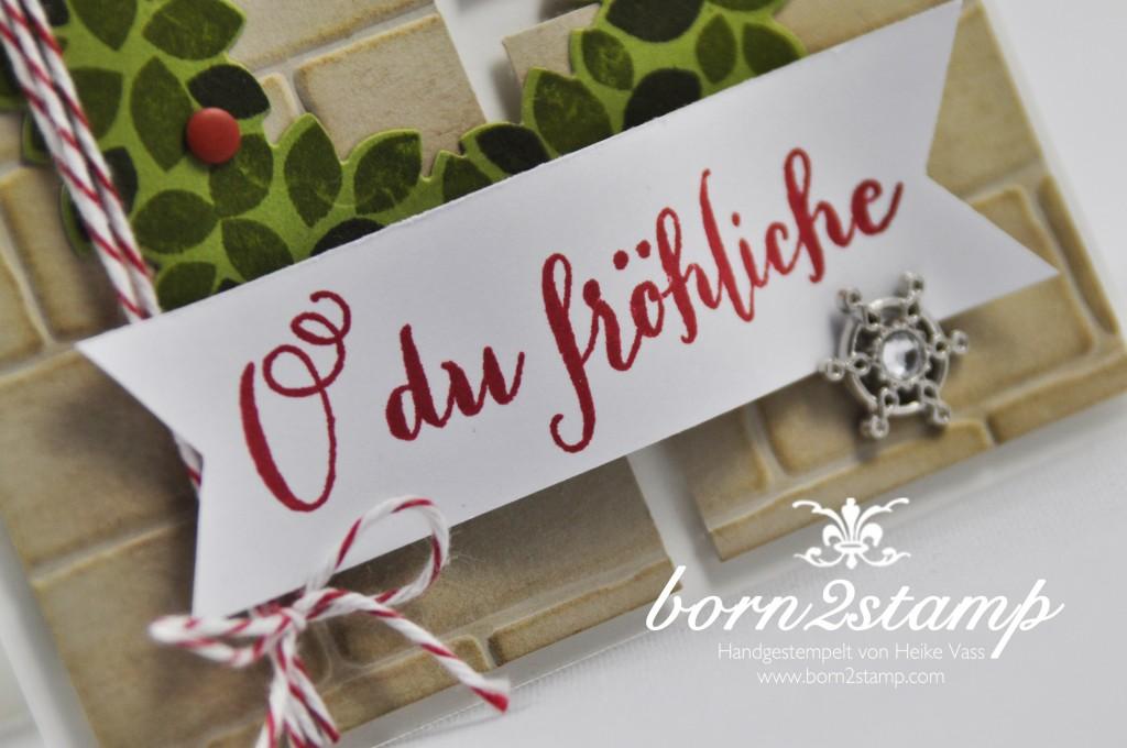 STAMPIN' UP! born2stamp Weihnachtskarte - Willkommen Weihnacht - Wondreous Wreath - Wonderful wreath Framelits - Froehliche Weihnachten - Accessoires Zauberwald