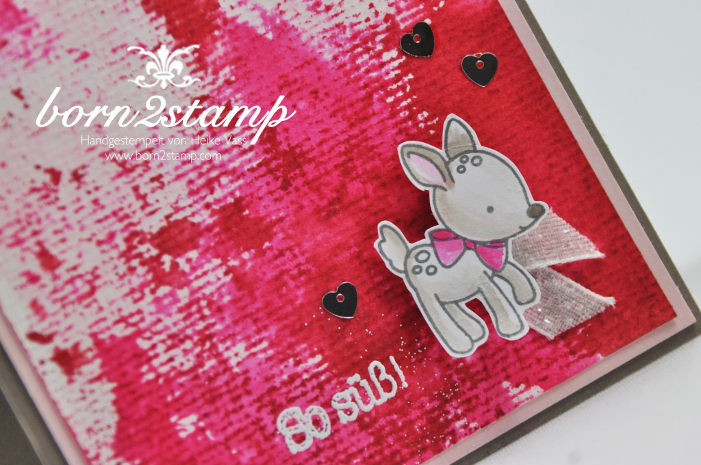 born2stamp STAMPIN' UP! Babykarte - Zum Nachwuch - Mischstifte - Smooshing - Aquarellpapier