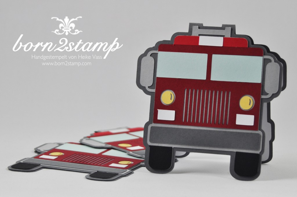 born2stamp STAMPIN' UP! Einladung - Feuerwehrparty - firefighter birthday party invitation