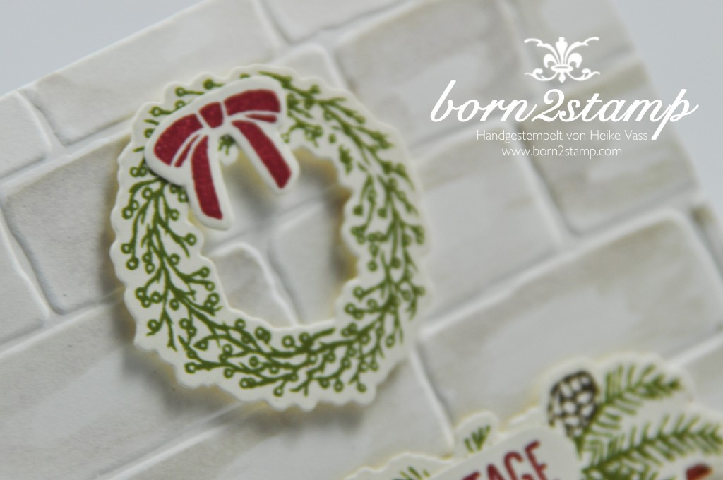 born2stamp STAMPIN' UP! Weihnachtskarte - Festive Fireplace - Framelits Am Kamin - Mischstifte - Wassertankpinsel