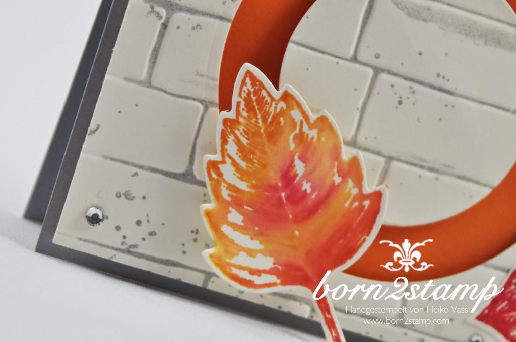 born2stamp STAMPIN' UP! Herbst - Vintage leaves - Froehliche Stunden - Gorgeous Grunge - Ziegel - Framelits Laub