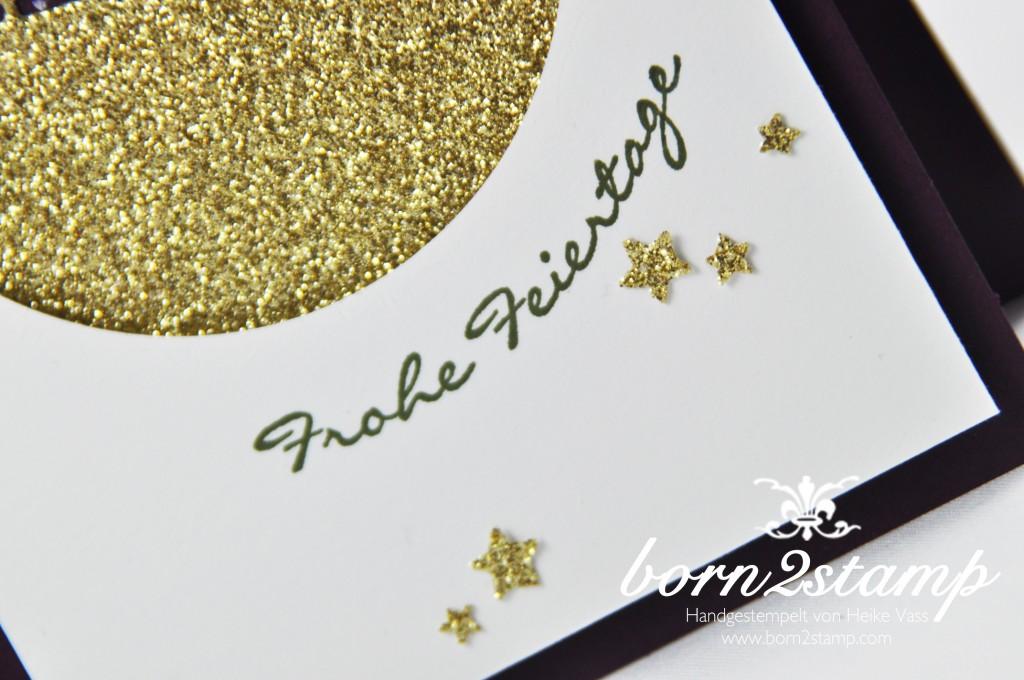 born2stamp STAMPIN' UP! Weihnachtskarte - Edgelits Schlittenfahrt - Glitzerpapier Gold - Sternenkonfetti