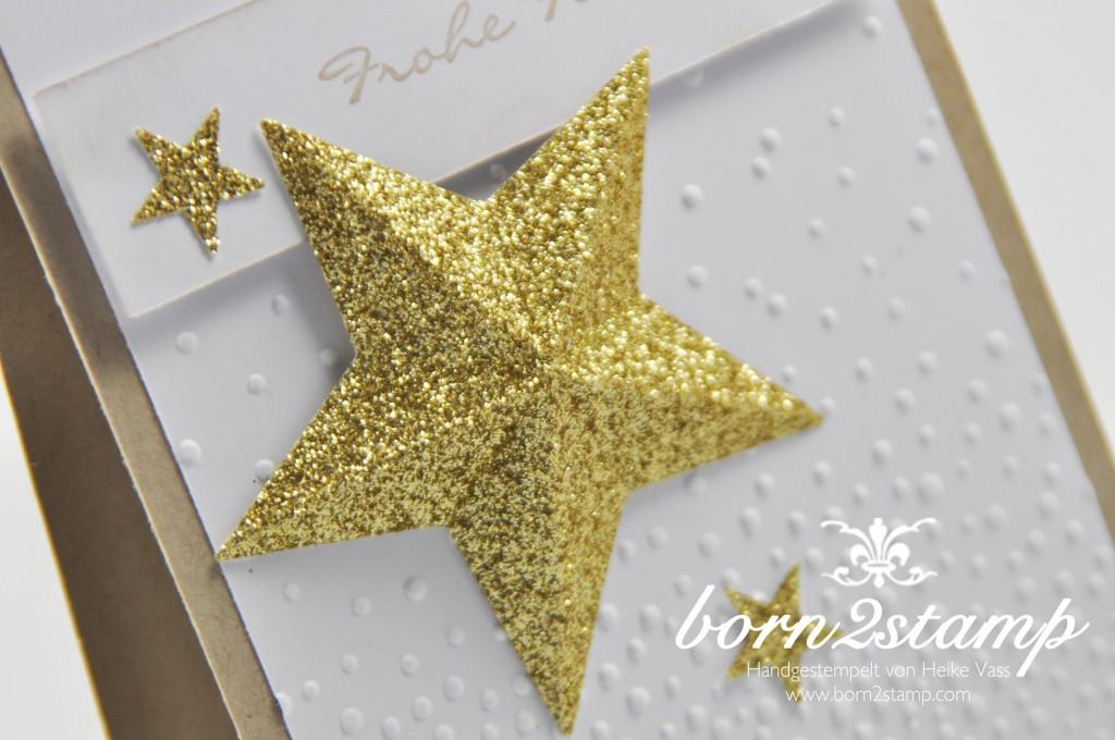 born2stamp STAMPIN' UP! Weihnachtskarte - Kling Gloeckchen - Leise rieselt - Glitzerpapier gold