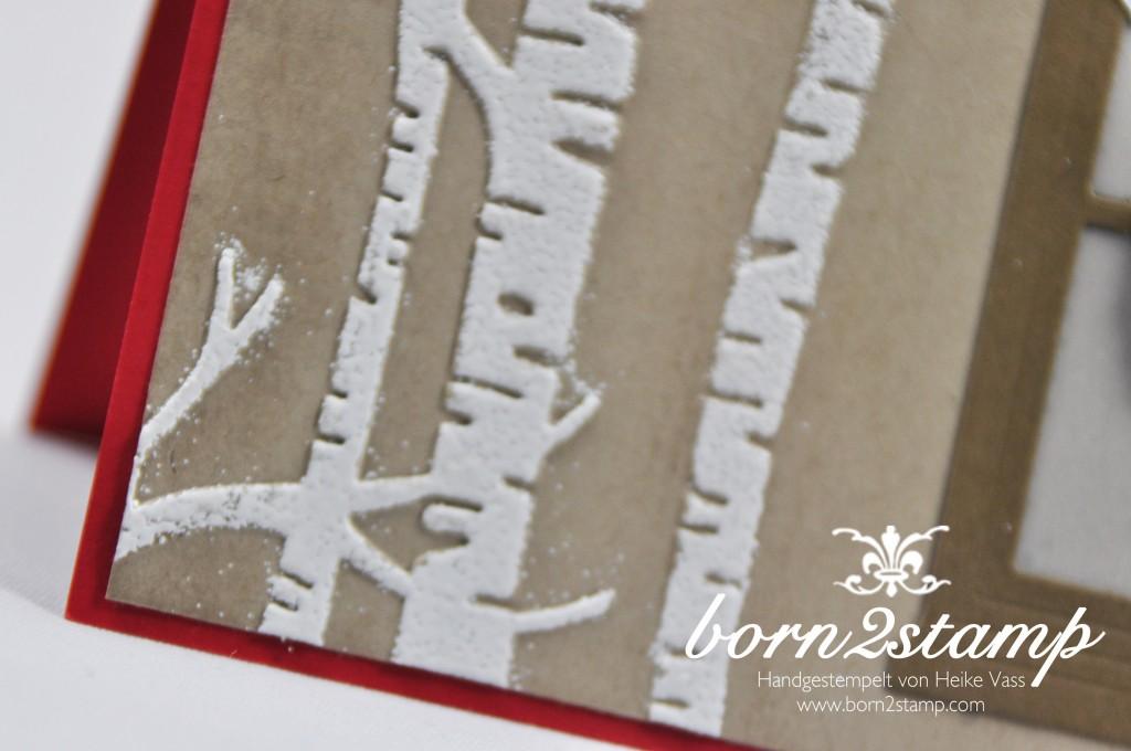 born2stamp STAMPIN' UP! Weihnachtskarte - Praegeform Im Wald - Hearth Home - Festive Fireside - Festive Fireplace - Spitzendeckchen - Weisse Weihnacht