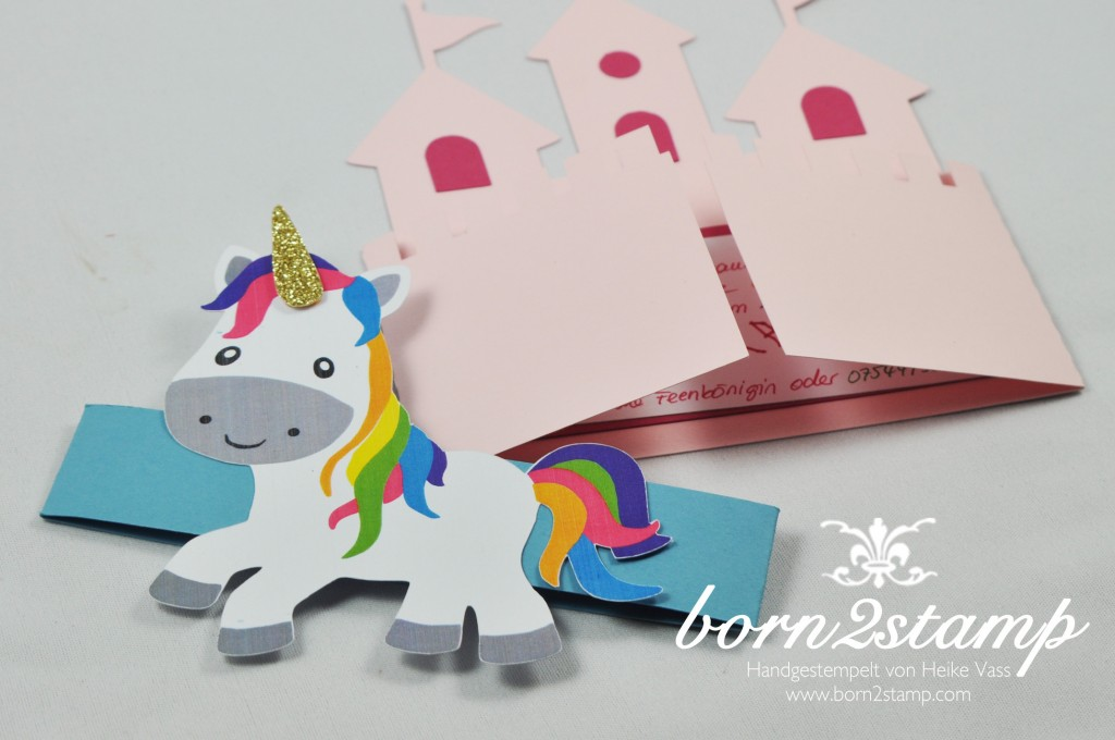 born2stamp Einhorn Unicorn Party Einladung invitation