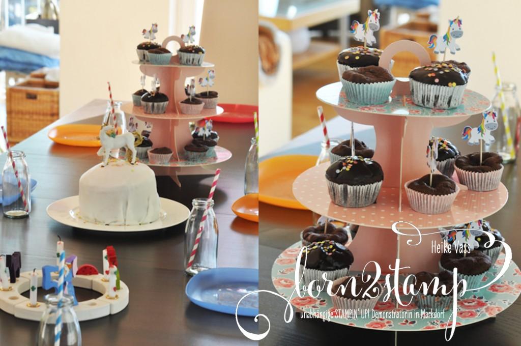 born2stamp STAMPIN' UP! Geburtstagsparty Einhorn unicorn Kuchen und Muffins