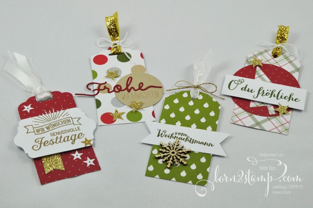 born2stamp STAMPIN' UP! Geschenkanhänger - Froehliche Weihnachten - DSP Froehliche Feiertage - Thinlits Weihnachtliche Worte - Stanze Eleganter Anhaenger