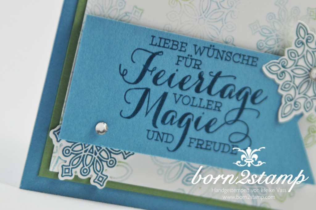 born2stamp STAMPIN' UP! Weihnachtskarte - Flockenzauber - Baby Wipe Technik