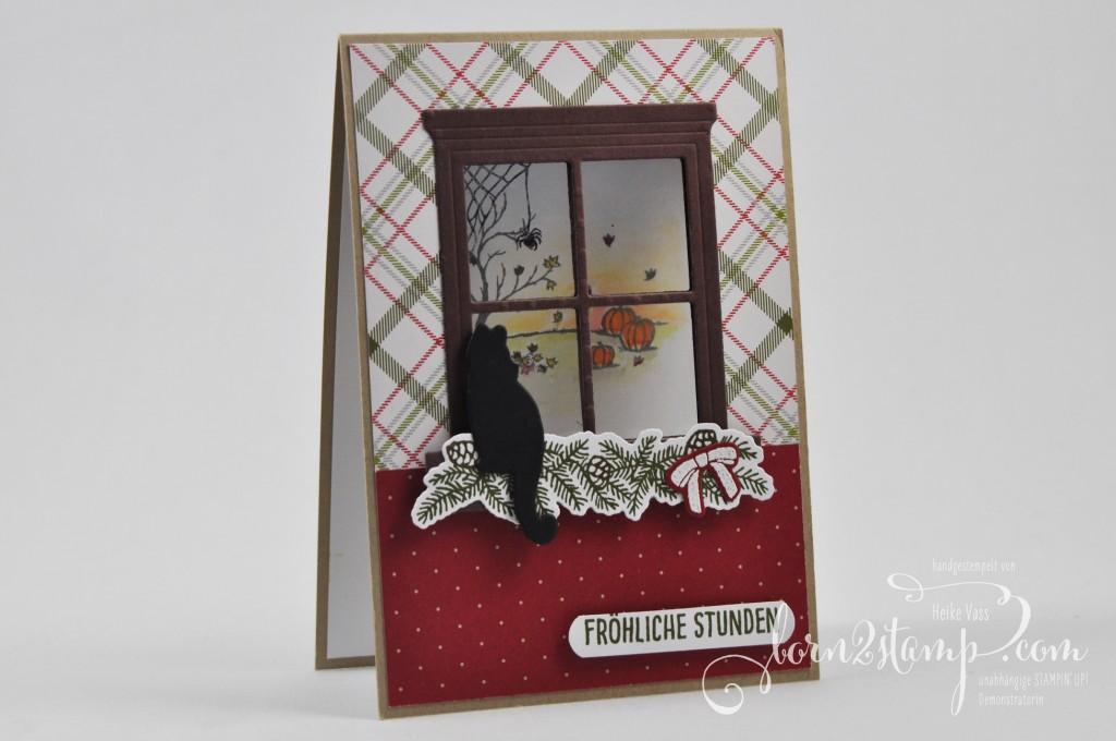 born2stamp STAMPIN' UP! Weihnachtskarte - Thinlits Trautes Heim - Froehliche Stunden - DSP DSP Froehliche Feiertage
