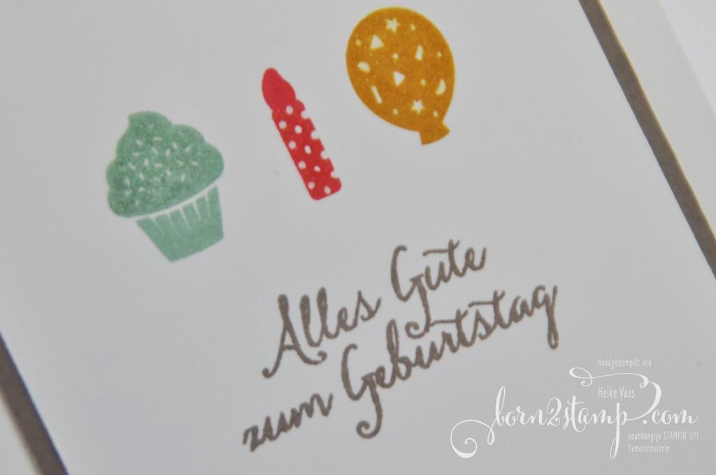 born2stamp STAMPIN' UP! Geburtstagskarte Party Grueße Partyballons Glitzer-Pinselstift