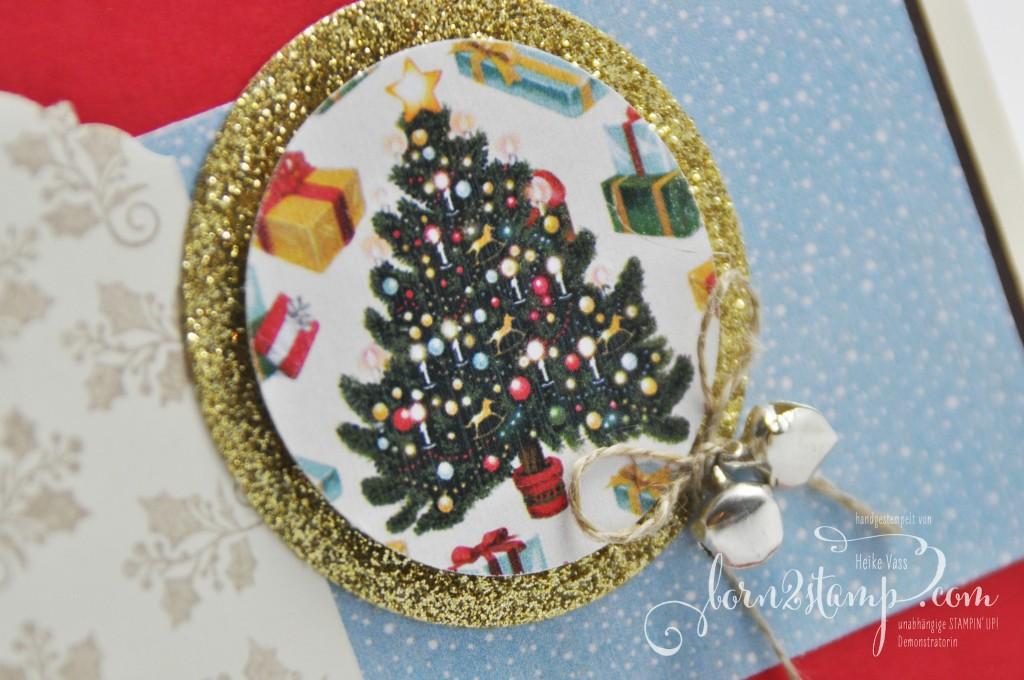 born2stamp STAMPIN' UP! Weihnachtskarte - DSP Heilige Weihnachten - Froehliche Weihnachten - Gold