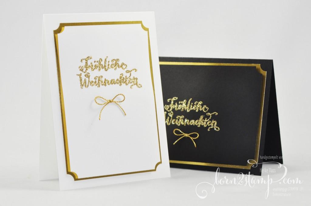 born2stamp STAMPIN' UP! Weihnachtskarte - Froehliche Weihnachten - Glitzer - Gold
