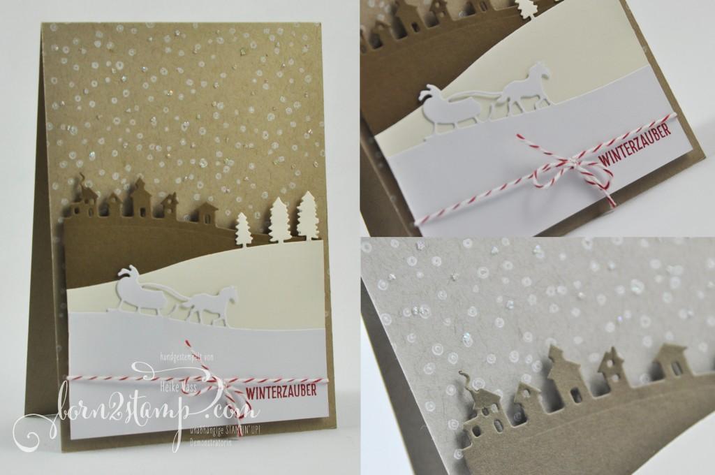 born2stamp STAMPIN' UP! Weihnachtskarte - Schlittenfahrt - Glitzer - Praezisionskleber