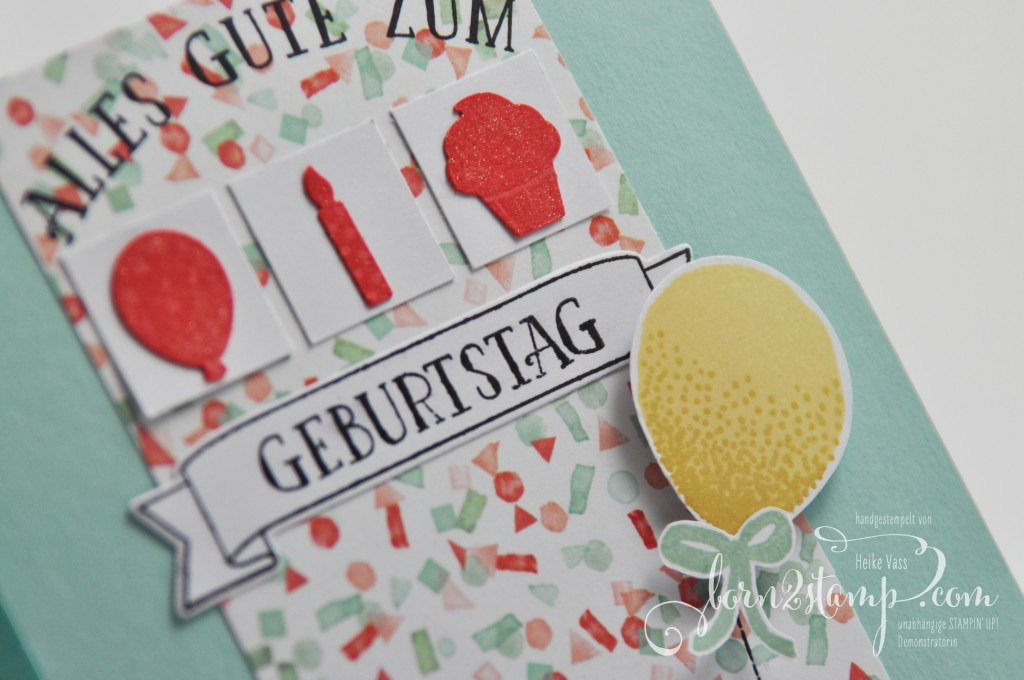 born2stamp STAMPIN' UP! Geburtstagskarte Partyballons - So viele Jahre - Party Gruesse - DSP Geburtstagsstrauss