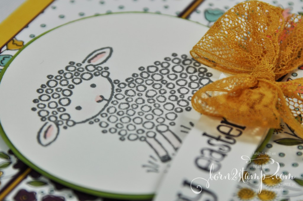 born2stamp STAMPIN' UP! Osterkarte - easter lamb - DSP Wildblumenwiese