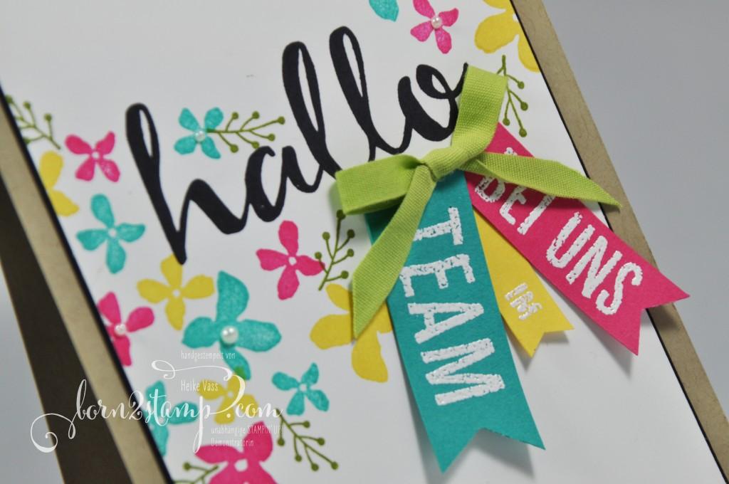 born2stamp STAMPIN' UP! Willkommenskarte - Hallo - Sale-a-bration - SAB - Blumen fuer Dich