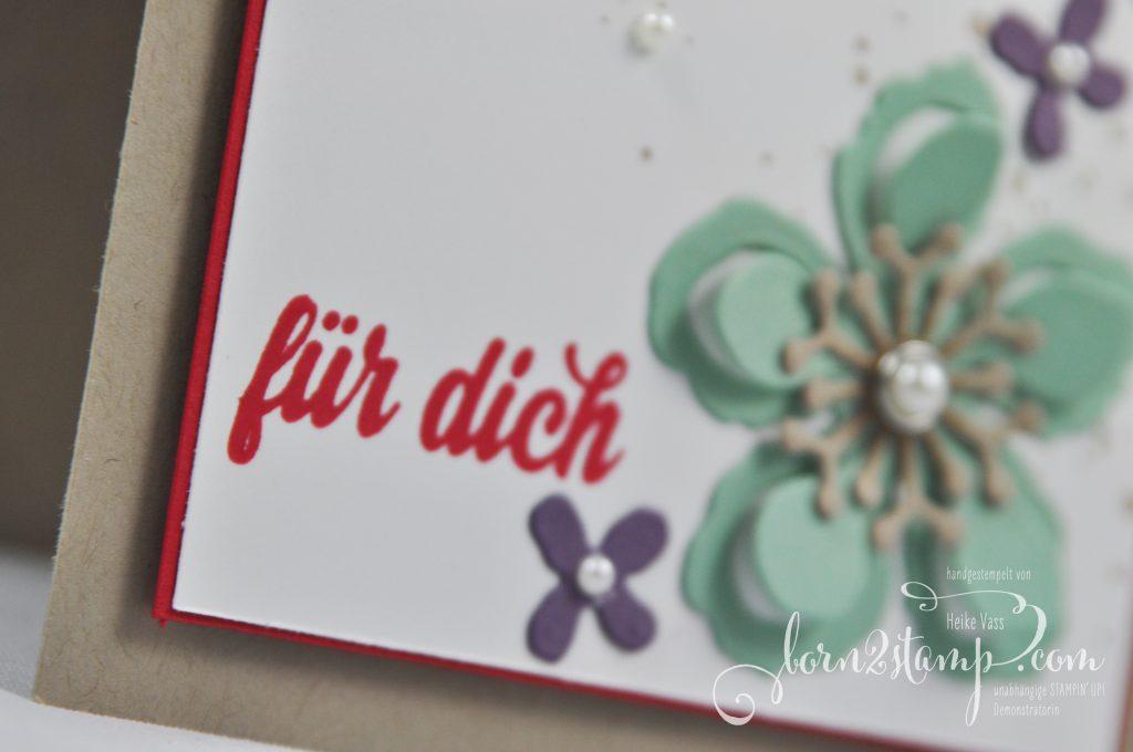 born2stamp STAMPIN' UP! Grusskarte - Pflanzen Potpourri Framelits - Die kleinen Dinge - Gorgeous Grunge - Perlen mit Metallrand