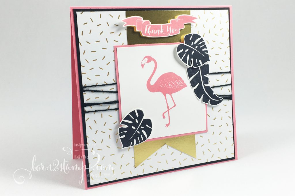 born2stamp STAMPIN' UP! Dankeskarte - Pop of Paradise - DSP Pink mit Pep - Goldfolie