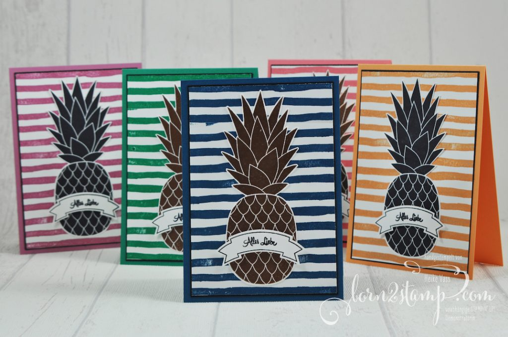born2stamp STAMPIN' UP! Grusskarte - Pineapple - Bannerweise Gruesse - Brushstrokes - Embossing
