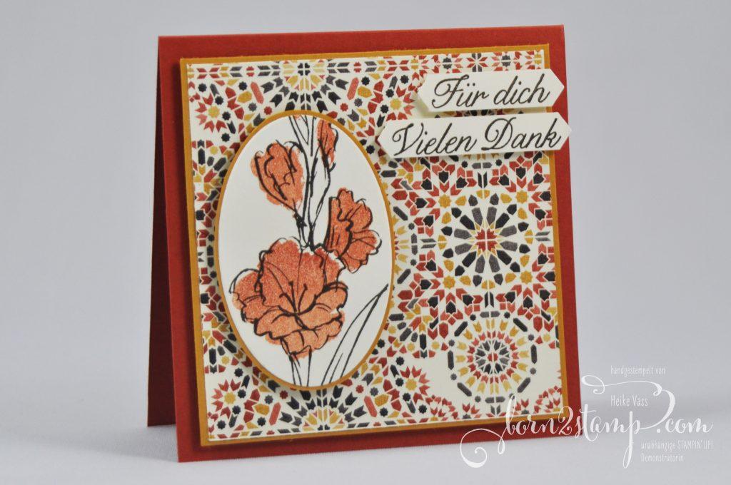 born2stamp STAMPIN' UP! Dankeskarte - Aus Liebe - DSP Marokko