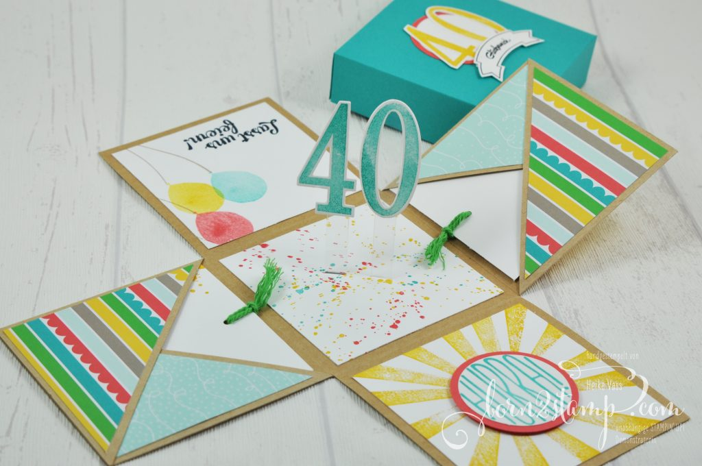 born2stamp STAMPIN' UP! Explosionsbox - Geburtstag - DSP Bunte Party - Konfetti-Gruesse - Gorgeous Grunge - Partyballons - So viele Jahre