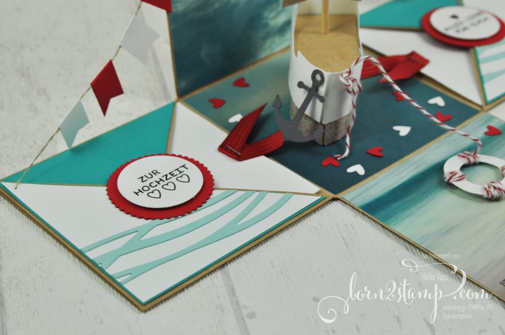born2stamp STAMPIN' UP! Explosionsbox Hochzeit - wedding - Boot - Rosenzauber - Designer Grusselemente - DSP im Block Stille Natur