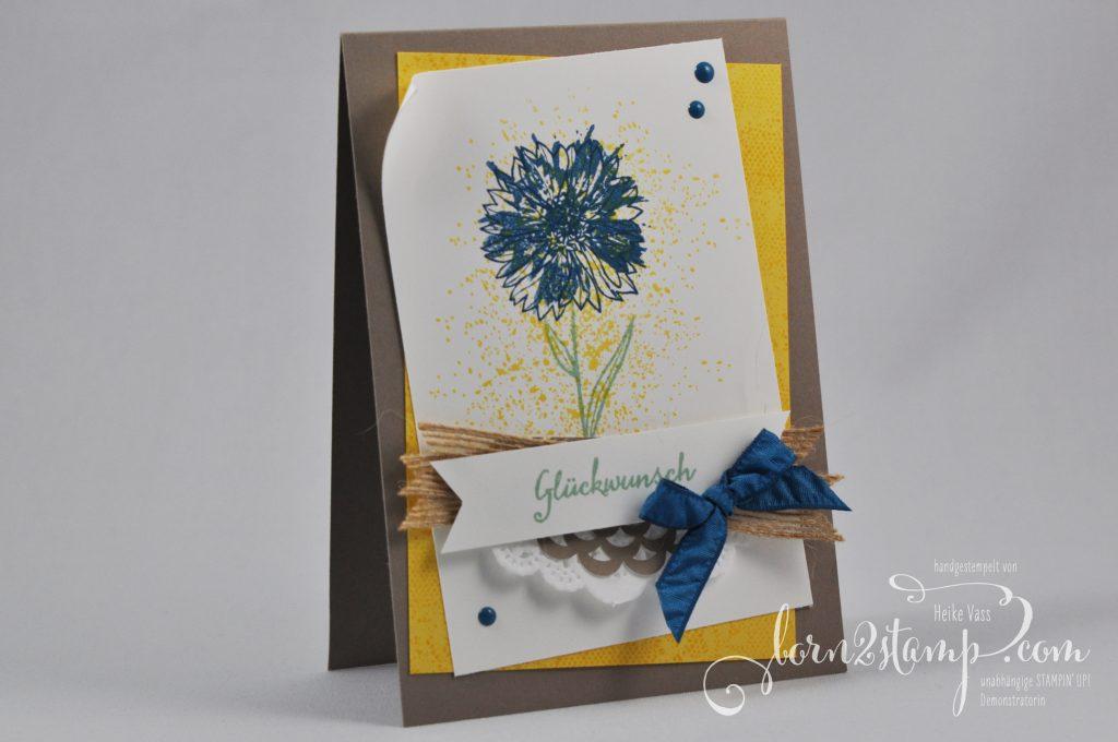 born2stamp STAMPIN' UP! Geburtstagskarte - Touches of Texture - Partyballons - Spitzendeckchen - Juteband - Lack-Akzente