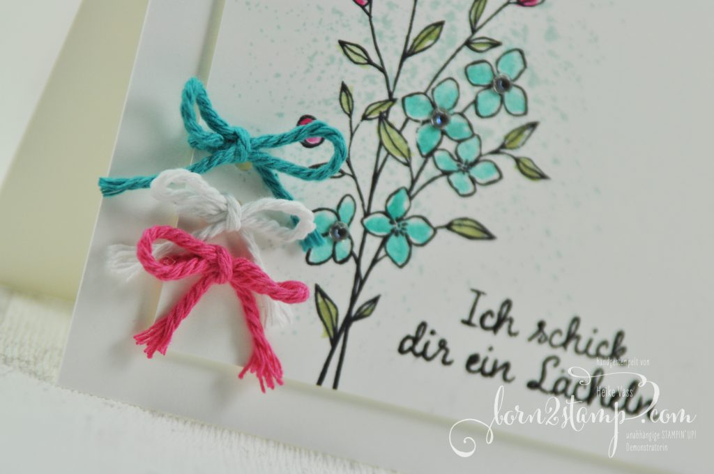 born2stamp STAMPIN' UP! Grusskarte - Touches of Texture - ribbon - Fuer Lieblingsmenschen - Kordel