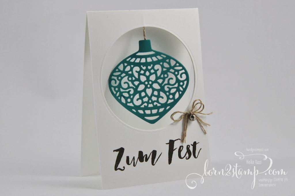 born2stamp STAMPIN' UP! Weihnachtskarte - Tannenzauber - Thinlits Am Christbaum - Mini-Gloeckchen