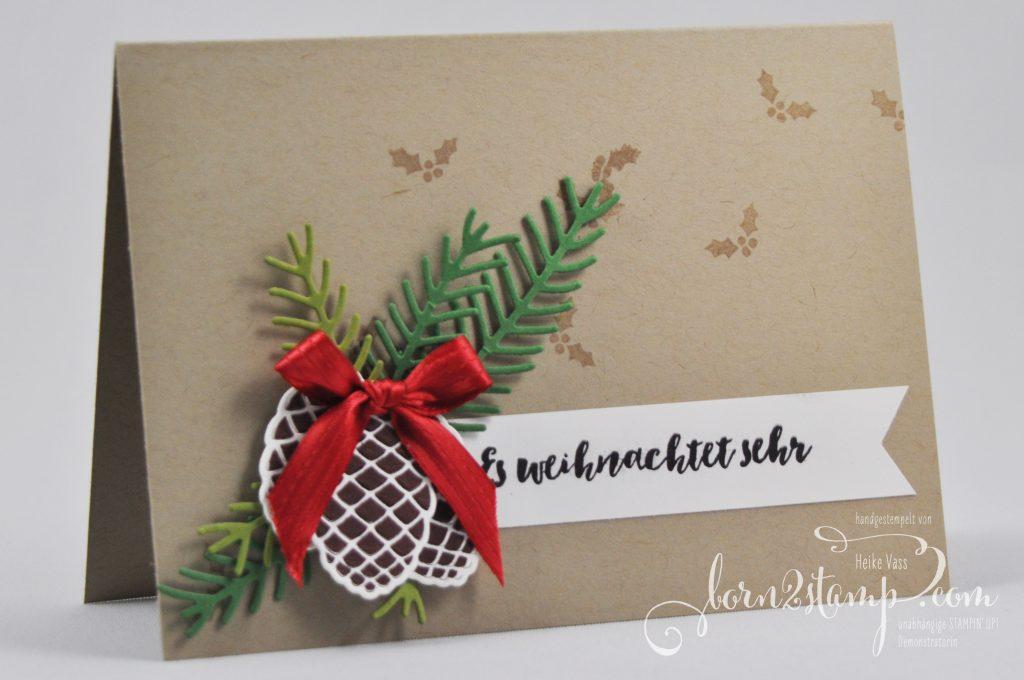 born2stamp STAMPIN' UP! Weihnachtskarte - Tannenzauber - Thinlits Tannen und Zapfen - Satinband