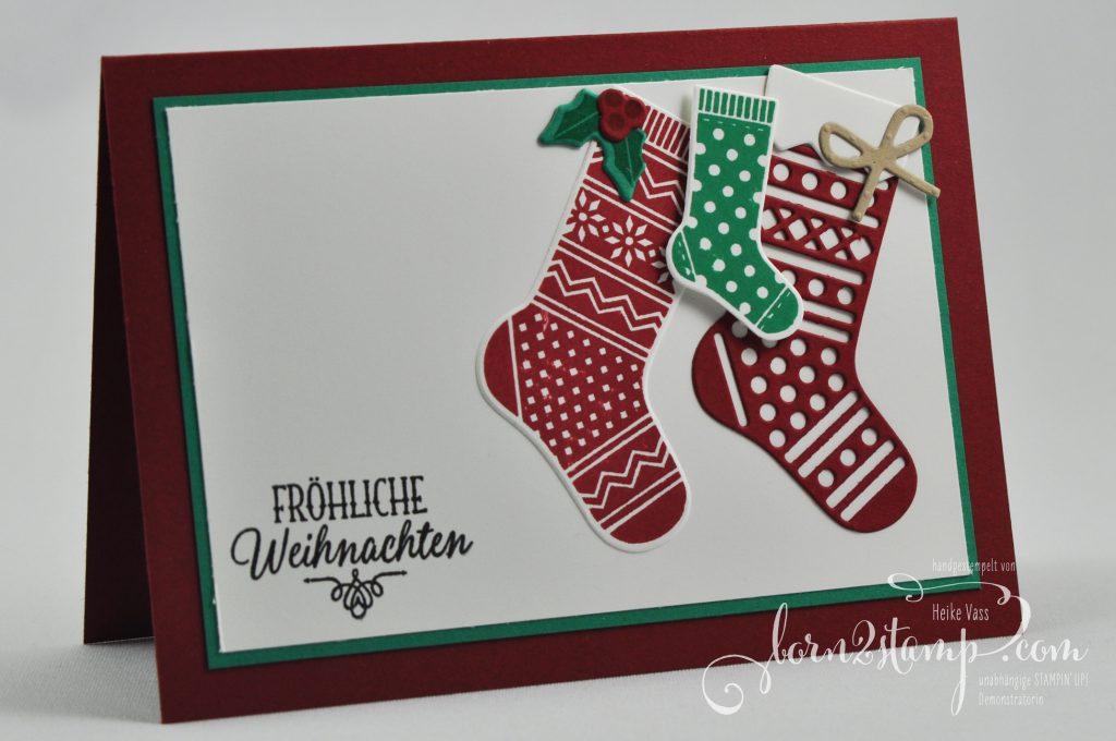 born2stamp STAMPIN' UP! Weihnachtskarte - Von den Socken - Thinlits Weihnachtsstruempfe