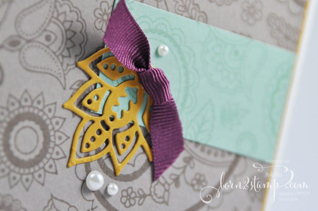 born2stamp STAMPIN' UP! IN{K}SPIRE_me Grusskarte - Paisleys & Poesies - Designer-Grusselemente - Perlen mit Metallrand