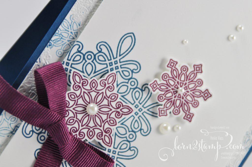 born2stamp STAMPIN' UP! Weihnachtskarte Schneeflocken Flockenzauber Tannenzauber Geschenkband im Dreierpack