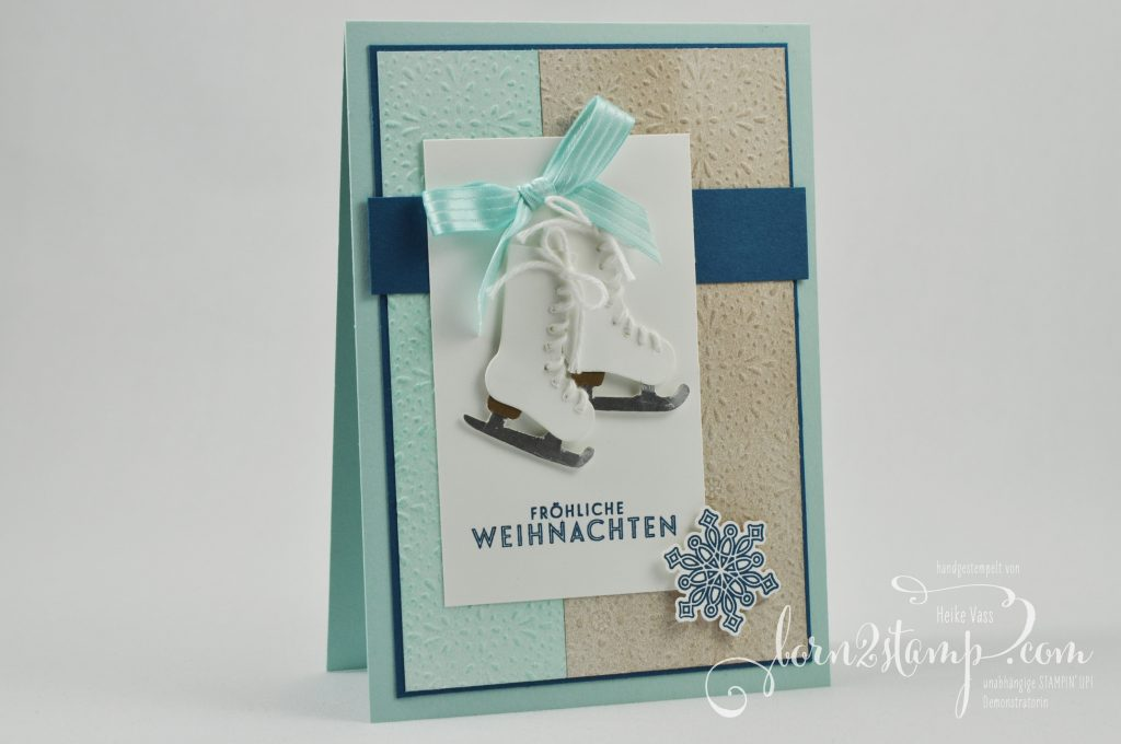 born2stamp STAMPIN' UP IN{K}SPIRE_me Weihnachtskarte - Von den Socken - Flockenzauber - DSP Eisfantasie